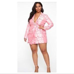 """Plus Size Blazer Dress - pink """"buy me flowers"""""""
